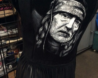LeaRsI Women's M Vintage 70's bLack SuedE frinGe vest with Willie Nelson Black veLveT painting on reverse On the Road again
