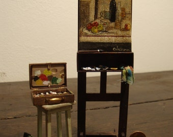 dollhouse miniature  easel painter. mahogany wood 1/12 scale
