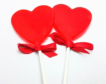12 LARGE HEART LOLLIPOPS with Satin Ribbon - Valentine Lollipops, Wedding Favors, Variety of Colors and Flavors