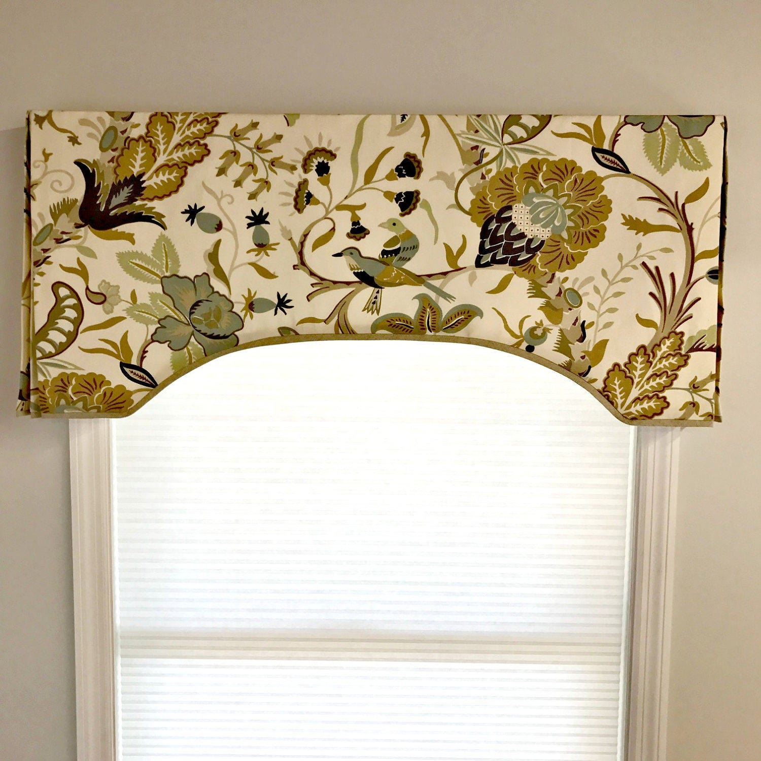 Custom Made To Order Arch Top Box Pleat Valance Contrast
