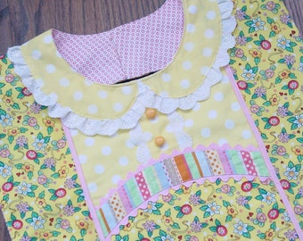 Cheerful Flowers & Stripes - Designer Apron Style Adult Bib