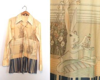 Vintage 70s Magic Rabbit Polyester Shirt / Unique Novelty Disco Shirt / Alice In Wonderland Shirt / Large