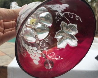 Crystal dinner bell cranberry cut to clear glass hand bell grapes grape leaves exquisite detail
