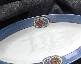 "Noritake lusterware platter opalescent plate green ""M"" mark relish dish serving vegetable bread bowl celery"