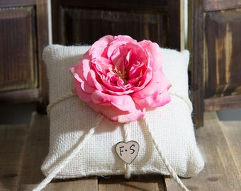 Burlap ring bearer pillow decorated with a dark pink sophia rose personalized and bride and groom initials other flowers to select from