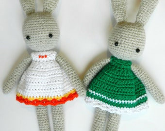 Options Bunny with Crocheted Dress (made to order)