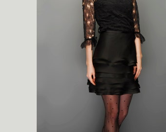 Silk Organza mini Skirt and Blouse with neck and sleeve details