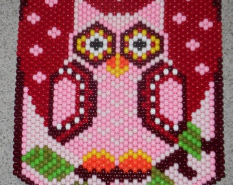 Handmade Cute Owls Be Yours  Beaded Banner with Nylon Cord