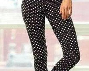 Polka Dot leggings / BLACK White Tights /Yoga Wear / Capri Pant / Knee Length Pant / Crop Legging / SALE 39.00 / FREE usa Ship / Crop Tights