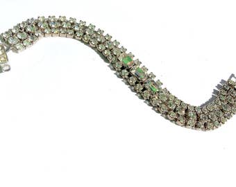 Weiss Rhinestone Tennis Bracelet Vintage Bridal Fashion Glam Jewelry