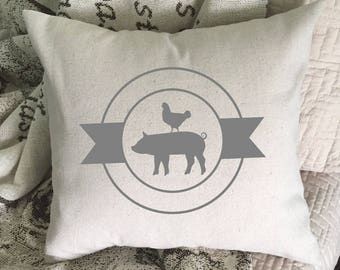 Pillow Cover, Pig And Chicken Pillow Cover, Throw Pillow Cover, Farmhouse Decor, Hand Painted Pillow Cover, Rustic Home Decor 22604