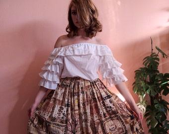 1950s Skirt Novelty Print + Droopey Eye Farmers Scarecrow Harvest Barkcloth Style Full Skirt 25 waist XS SMALL