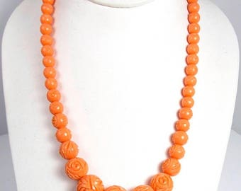 """Spring Cleaning SALE Vintage Peachy Orange Lucite Carved Rose Bead Necklace 1950s 60s Retro 18"""""""