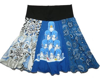 Sale 25% Off Girls Size 5 6 Penguins Holiday Upcycled Hippie Skirt recycled t-shirt clothing from Twinkle