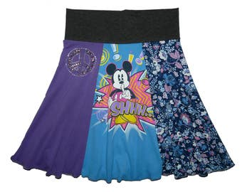 Half Price Sale Hippie Skirt Girls Size 8 10 Upcycled Skirt recycled t-shirt clothing tween skirt from Twinkle