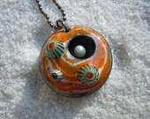 Orange and White Swirl Barnacle Pendant Artisan Jewelry Murrini Millefiori