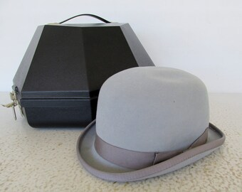 90s Grey Derby 100% Fur Equestrian Bowler Hat English Bridle Riding Show Horse Wedding with Box
