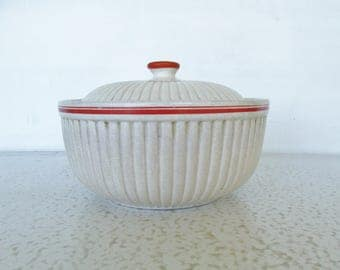 Antique Ribbed Bowl with Lid Covered Dish Orange Band Serving Casserole