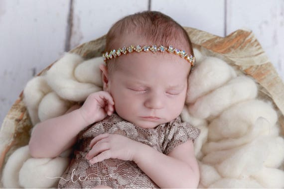 Gold and Iridescent Rhinestone Tieback or Headband Photo Prop for newborns through adults, Lil Miss Sweet Pea, infant, bebe, sparkle