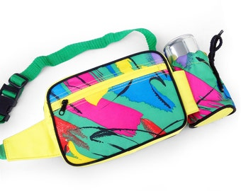 Aesthetic 80s Energy Drink Holder Neon Brush Stroke Fanny Pack - 24 to 32