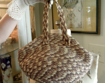 Vintage Woven Brown Purse / Small Brown Handbag / Beaded Purse / Vintage Handbag / Original Mirror