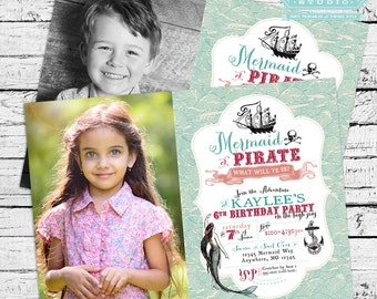 Vintage Mermaid and Pirate Birthday Party Photo Invitation, Mermaid and Pirate Invitation, Mermaid and Pirate Invite