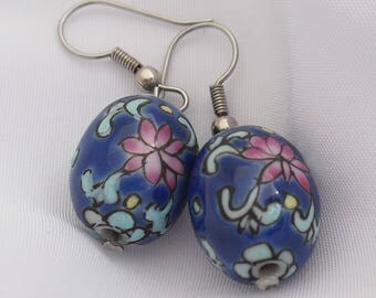 Hand Painted Earrings, Gorgeous Porcelain Beads
