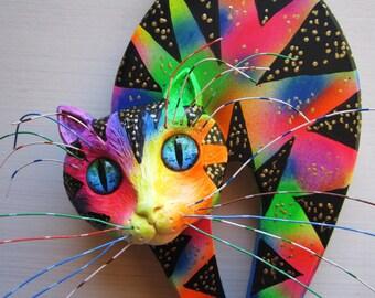 Cat wall decor,cat art,crazy cat lady, whimsical cat,colorful cat wall art