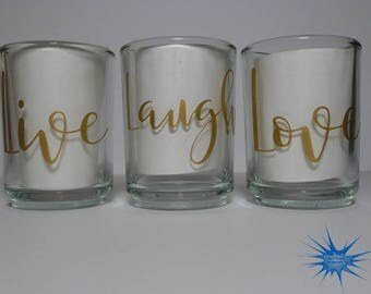 Set of 3 Personalized Clear Glass Votive Holders. *With Free Tealight Candles*