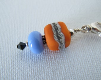 Orange and Periwinkle Square Scissor Fob