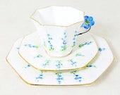 Art Deco Floral Trio, Melba China Delphinium Blue Flower-Handled Hand-painted Octagonal Tea Cup Saucer & Teaplate Bone China Set 1930s