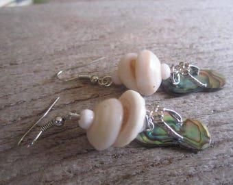 abalone slipper earrings, Hawaiian puka shell earrings, shell jewelry, paua shell abalone, made in Hawaii, beach earrings