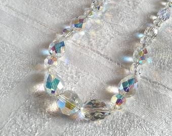 Vintage Aurora Borealis 50s Swarovski Crystal Necklace by Exquisite. Bridal?, Wedding?