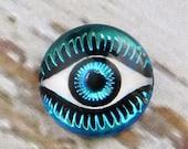 25% off Birthday SALE Bermuda Blue Evil Eye Cabochon 12mm