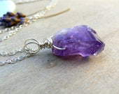 Raw Amethyst Necklace  Rustic Wedding Necklace  Raw Crystal Necklace  Summer Jewellery  Boho Jewellery  Gemstone Pendant  Gemstone