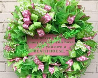Lime Green & Pink Jute Mesh Beach Wreath, Beach Wreath