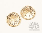 P031-AG // Glossy Antique Gold Plated Coin Pendant, 4pcs