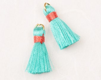 T002-RA-MO// Bright  Mint, Orange Red Rayon Tassel Pendant, 4pcs, 23mm