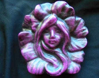 Fairy Face Hanging Garden Stone, Shipping Included, Handmade In USA