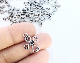 40pc cute little crosses with swirls lot antiqued silver color religious pendants bulk wholesale destash