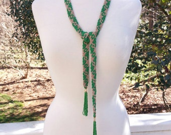 Vintage Green and Gold Seed Bead Belt With Tassels, 1970's Beaded Belts, Vintage Belts, Fashion Accessories
