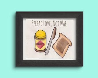 Spread Love not War - Vegemite Watercolour Print