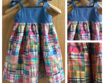 Patchwork Cotton and Denim Halter Style Sundress, child size 5