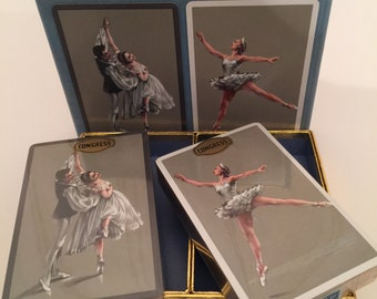 vintage congress ballet dancer playing cards/very french trade playing cards/scrapbooking/mixed media/altered art