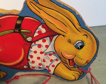vintage fisher price bunny pull cart no. 10/easter decoration/1940s