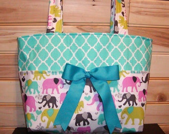 READY to ship Diaper bag, handbag, purse, book..Elephants N Teal Quatrefoil..Match your carseat canopy(see fashionfairytales).