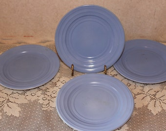 Vintage Hazel Atlas Moderntone Pastel Blue Desert Bread Plates – Set of 4