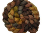 Hand dyed roving - Gray Shetland Wool / Nylon 80/20% spinning fiber - 4.8 ounces - Polished Wood 1