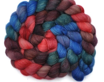 Hand dyed roving - Silk / Polwarth 40/60% wool roving - 4.1 ounces - Fireworks 2