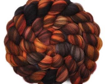 Hand painted roving - Corriedale Humbug wool spinning fiber - 4.0 ounces -  Dark Mineshaft 2